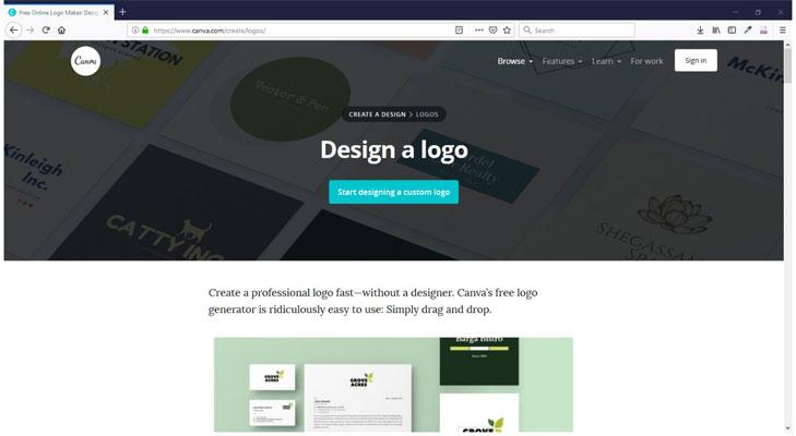 طراحی لگو رایگان وب سایت canva.com